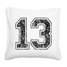 Retro 13 Number Square Canvas Pillow