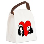Panda Bear Love Canvas Lunch Bag