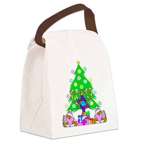 christmas chanukah redone.png Canvas Lunch Bag