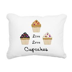 Live Love Cupcakes Rectangular Canvas Pillow