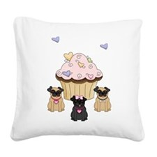 Cupcake Pug Dogs Square Canvas Pillow