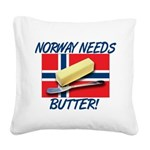 norway-needs-butter.png Square Canvas Pillow