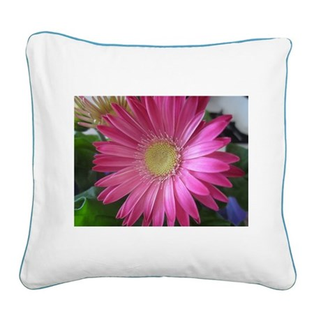 Pink Daisy Princess Square Canvas Pillow
