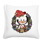 Christmas Penguin Holiday Wreath Square Canvas Pil