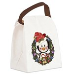 Christmas Penguin Holiday Wreath Canvas Lunch Bag
