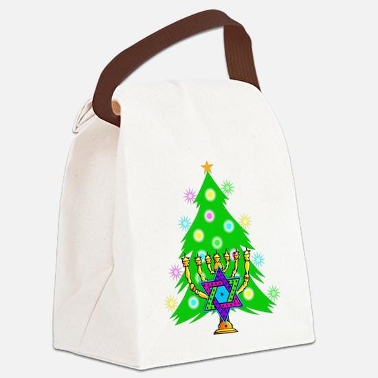 Christmas and Hanukkah Interfaith Canvas Lunch Bag