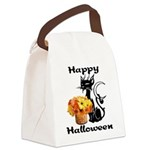 Halloween Black Cat Canvas Lunch Bag