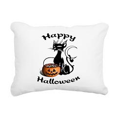 Black Cat Halloween Pumpkin Rectangular Canvas Pil