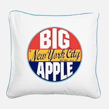 New York Vintage Label Square Canvas Pillow
