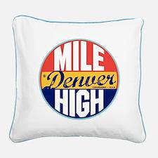 Denver Vintage Label Square Canvas Pillow