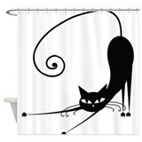 Black cat Shower Curtains