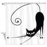 Black cat Shower Curtains