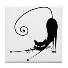 Black Cat Tile Coaster
