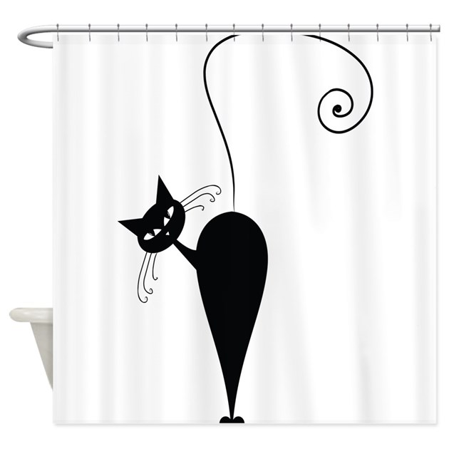 Black Cat Shower Curtain by TheBigShopofGreatStuff