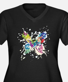 Colorful Butterfly Women's Plus Size V-Neck Dark T