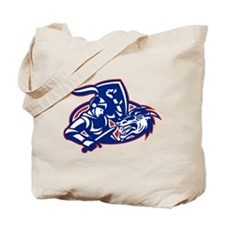 st. george fighting dragon with sword retro Tote B