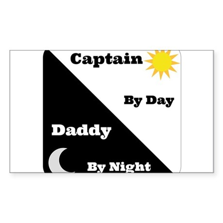Captain by day Daddy by night Sticker (Rectangle)