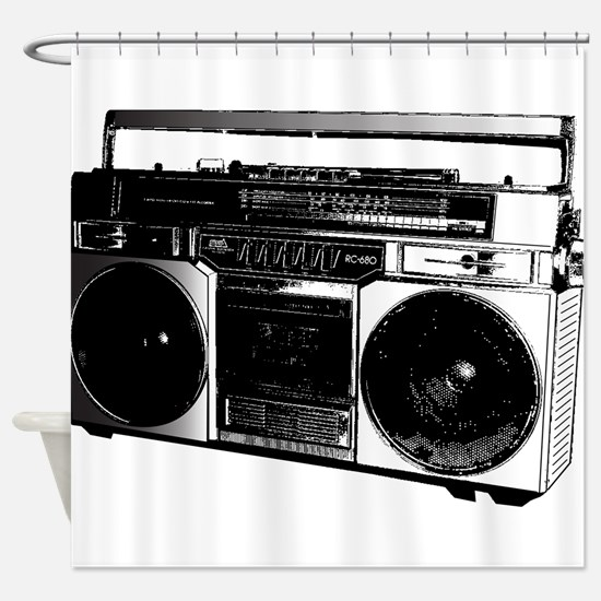 boombox5.png Shower Curtain