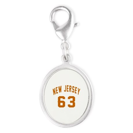 New Jersey 63 Birthday Designs Silver Oval Charm