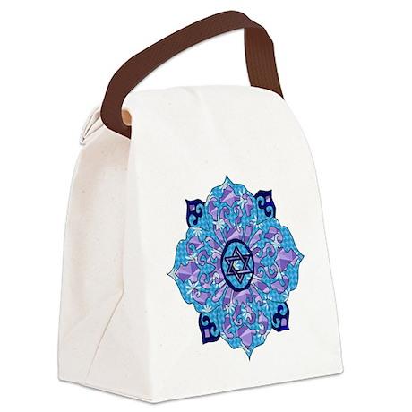 Blue Hanukkah Mandela Canvas Lunch Bag