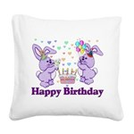 birthdaybunny01.png Square Canvas Pillow