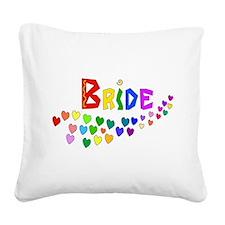 Rainbow Hearts Bride Square Canvas Pillow