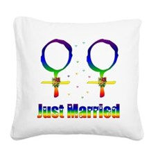Just Married Lesbians Square Canvas Pillow