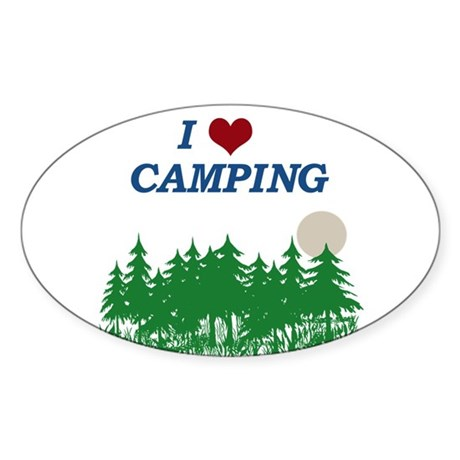 I love camping Sticker (Oval)