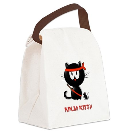 ninja kitty Canvas Lunch Bag