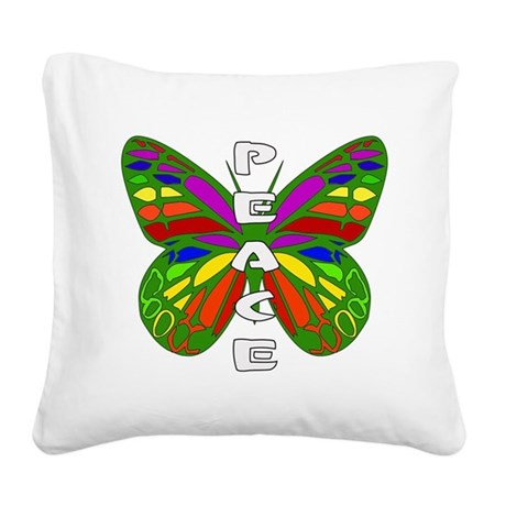 Peace Butterfly Square Canvas Pillow