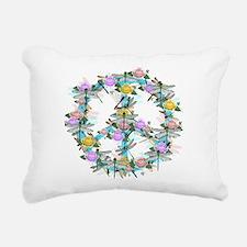 Dragonfly Peace Sign Rectangular Canvas Pillow