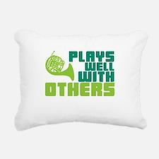 French Horn Plays Well Rectangular Canvas Pillow