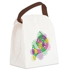 flower_horn3_black.png Canvas Lunch Bag