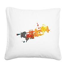 Paint Splat Trumpet Square Canvas Pillow