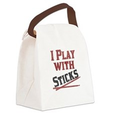 I Play With Sticks Canvas Lunch Bag