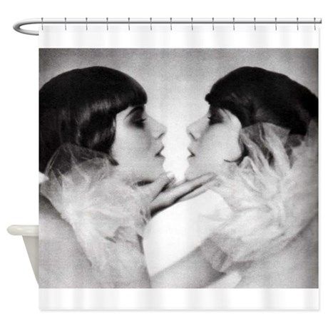 Lipstick Lesbian Kiss Vintage Photo Shower Curtain