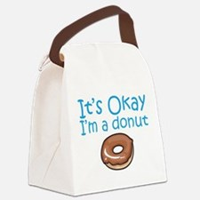 okay_donut_black.png Canvas Lunch Bag