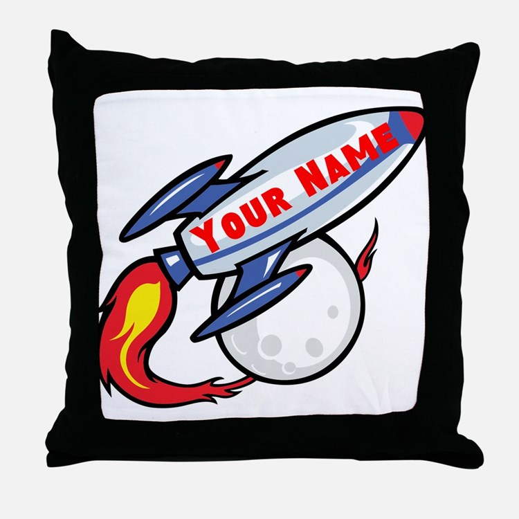 Personalized rocket Throw Pillow
