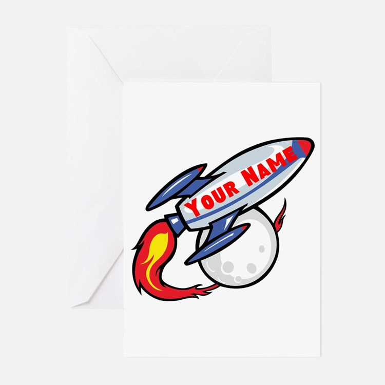 Personalized rocket Greeting Cards (Pk of 20)