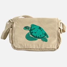 Teal Turtle Messenger Bag