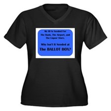 Voter ID Required Women's Plus Size V-Neck Dark T-