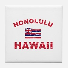 Honolulu Hawaii Designs Tile Coaster