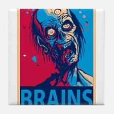 Obama Zombie Brains Tile Coaster