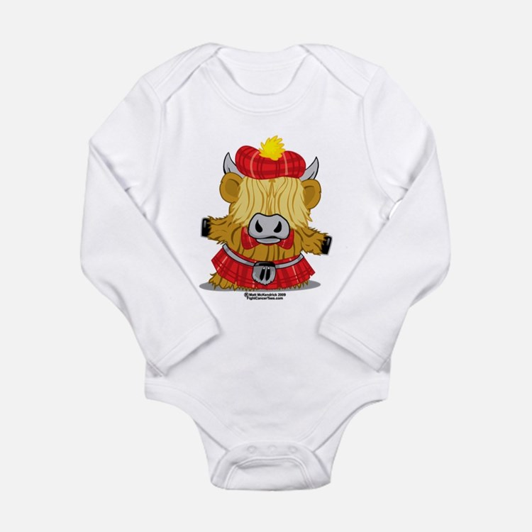Highland Cow Red Kilt Long Sleeve Infant Bodysuit