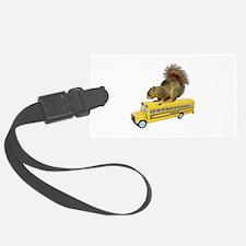 Squirrel on School Bus Luggage Tag