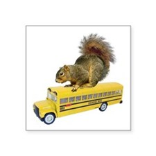 "Squirrel on School Bus Square Sticker 3"" x 3"""