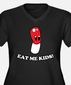 Eat Me Kids Women's Plus Size V-Neck Dark T-Shirt