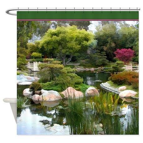 Japanese Garden Panorama copy.jpg Shower Curtain