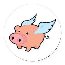 Flying Pig Round Car Magnet