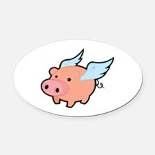 Flying Pig Oval Car Magnet
